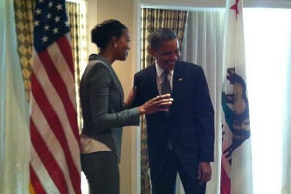 Aisha Tyler with Barack Obama
