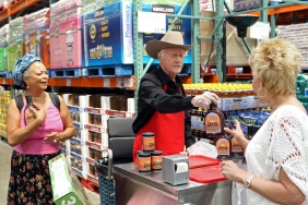 Actor Larry Hagman Working at Costco