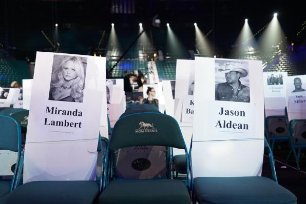 Miranda Lambert and Jason Aldean's seats are marked for the memorable night.