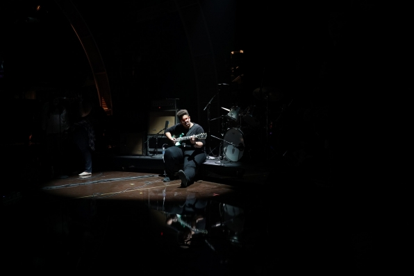 Brittany Howard takes a moment alone in the spotlight during the GRAMMYs rehearsals.