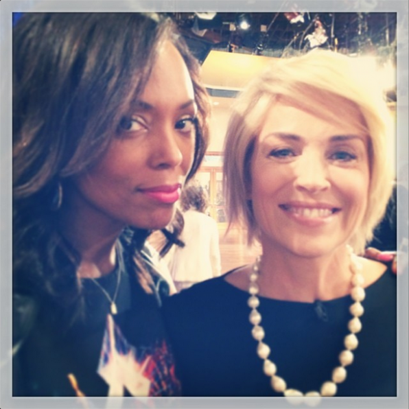 Aisha Tyler and Sharon Stone