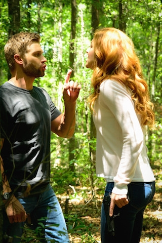 "Mike Vogel as Dale ""Barbie"" Barbara and Rachelle Lefevre as Julia Shumway."