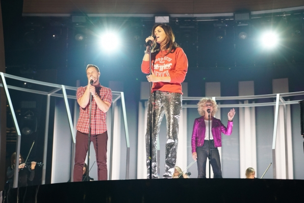 Little Big Town tests the mics for their GRAMMY performance.