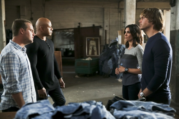 Chris O'Donnell as Special Agent G. Callen, LL COOL J as Special Agent Sam Hanna, Daniela Ruah as Special Agent Kensi Blye, and Eric Christian Olsen as LAPD Liaison Marty Deeks
