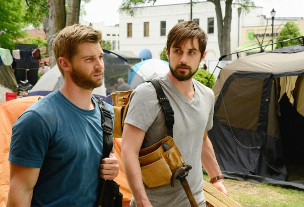 "Mike Vogel as Dale ""Barbie"" Barbara and Andrew J. West as Pete Blackwell."
