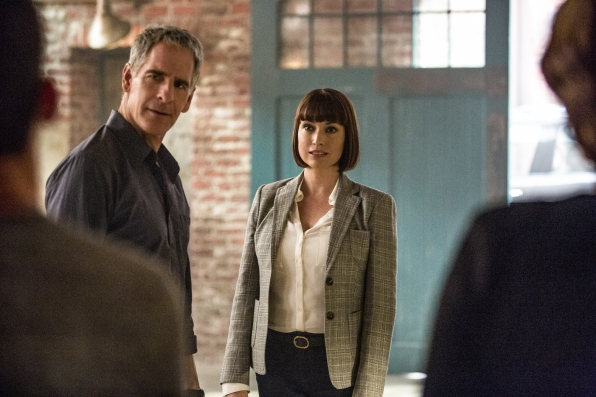 Scott Bakula as Special Agent Dwayne Pride and Julie Ann Emery as NCIS Special Agent Karen Hardy