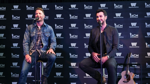 Dierks Bentley and Luke Bryan share a few laughs during a pre-Awards interview.