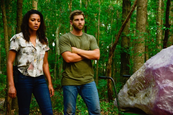 "Kylie Bunbury as Eva Sinclair and Mike Vogel as Dale ""Barbie"" Barbara."