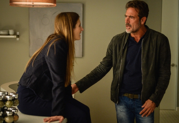 Grace Gummer as Julie Gelineau and Dean Morgan as JD Richter.