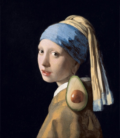 Girl with a Pearl Earring with Avocado, Johannes Vermeer, 1665