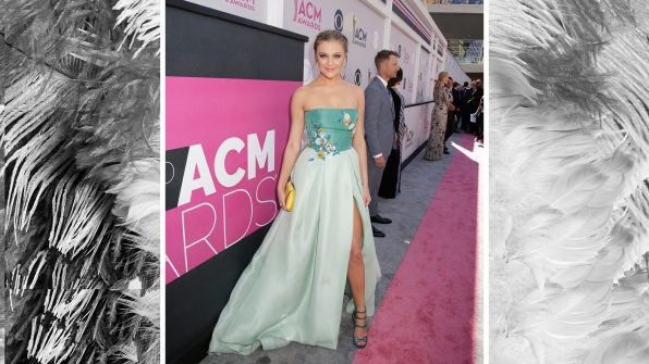 Kelsea Ballerini is dreamy in a pastel color-blocked dress with thigh-high slit.