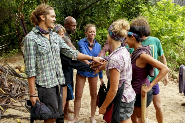 "Bikal Tribe huddle in ""Operation Thunder Dome"" Episode 6 of Season 26"