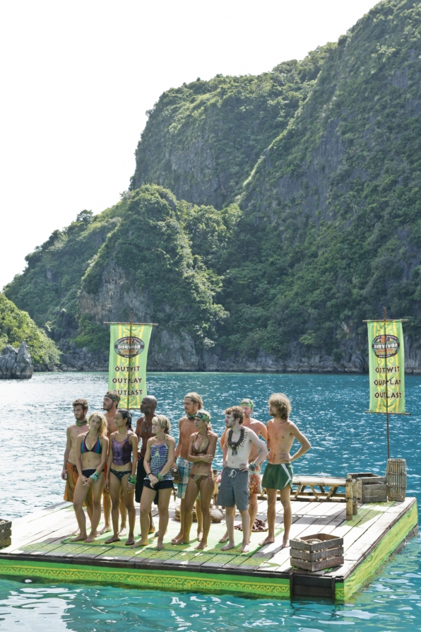 "Gathering before the immunity challenge in ""Cut Off the Head of the Snake"" Episode 9 of Season 26"