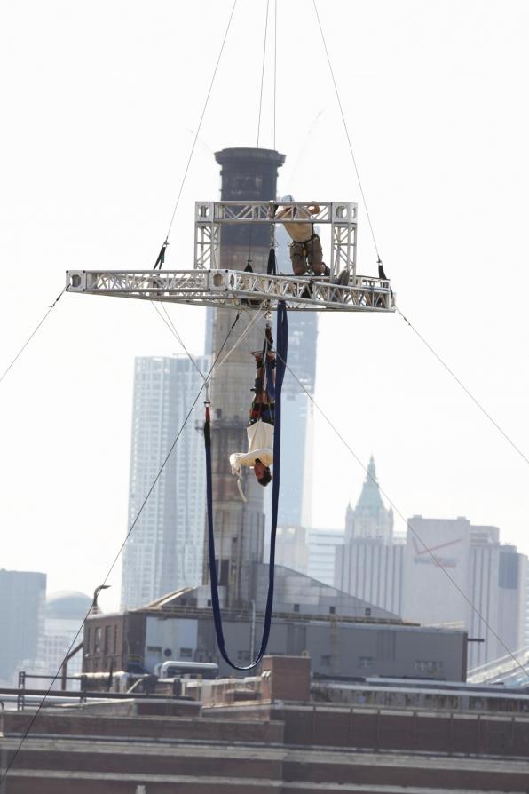 Hanging over Brooklyn Navy Yard