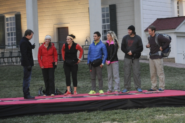 "Phil Keoghan greets the final three teams in the season finale of The Amazing Race ""Beacon of Hope"""