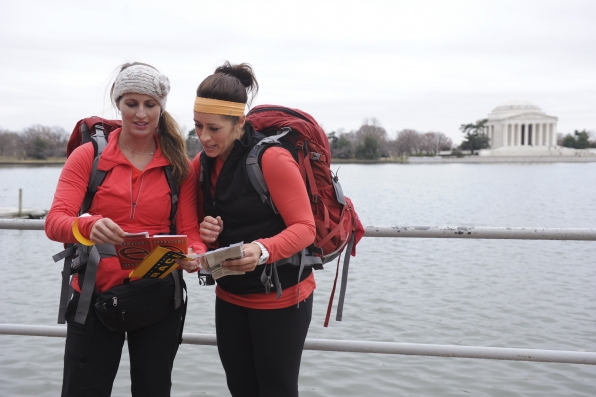 "Reading a clue in the season finale of The Amazing Race ""Beacon of Hope"""