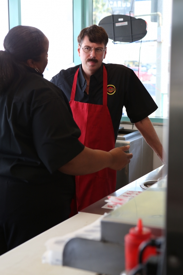 "Andy undercover in ""Fatburger"" Episode 12 of Season 4"