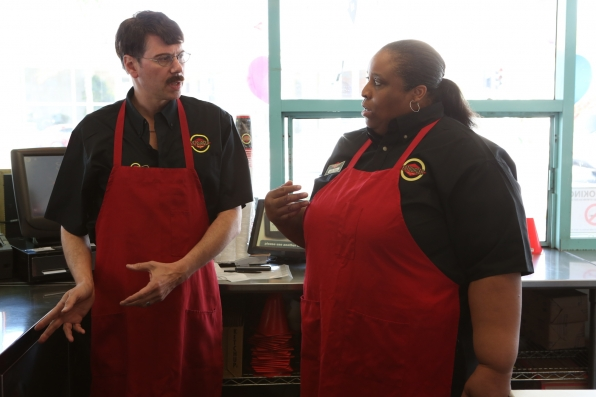 "On the job in ""Fatburger"" Episode 12 of Season 4"