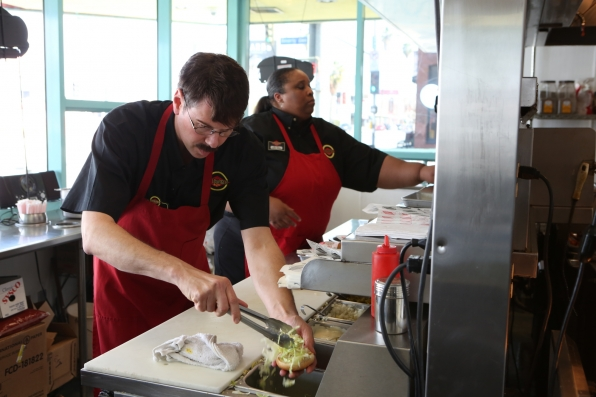 "Working hard in ""Fatburger"" Episode 12 of Season 4"