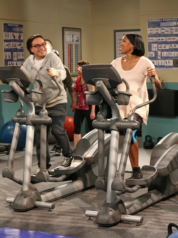 "Elliptical exercise in ""The Tenure Turbulence"" in Episode 20 of Season 6"