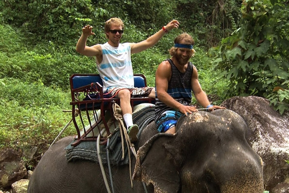 Andy and Tommy On An Elephant in Bangkok, Thailand