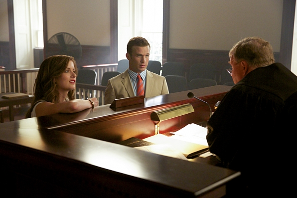 Anna Wood as Jamie Sawyer, Cam Gigandet as Roy Rayder, and Tim Ware as Judge Abbott Garner