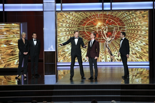 Jane Lynch, Jimmy Kimmel, Conan O'Brien, Neil Patrick Harris, and Jimmy Fallon