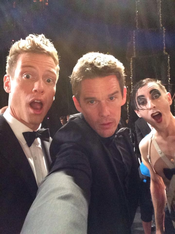 9. Barrett Foa, Ethan Hawke and Alan Cumming - Backstage at the Tony Awards