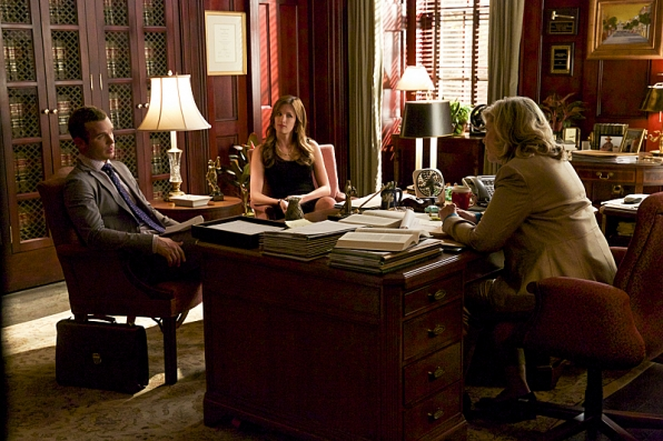 Cam Gigandet as Roy Rayder, Anna Wood as Jamie Sawyer, and Debra Monk as Judge Gertrude Moss