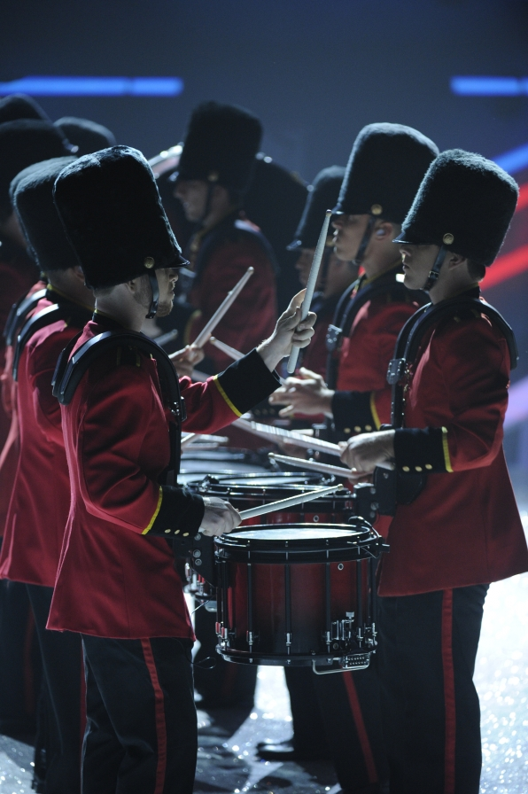 The Rutgers University drum line kicks off the show with a bang