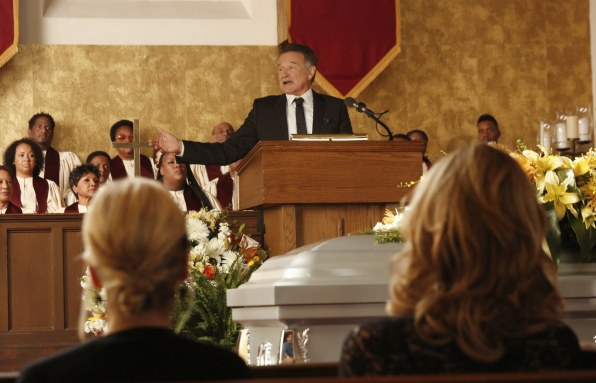 "Giving a eulogy in ""Dead & Improved"" Episode 15 of Season 1"