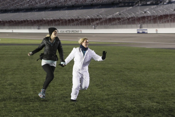 Landing on the Las Vegas Motor Speedway on The Amazing Race Season Finale