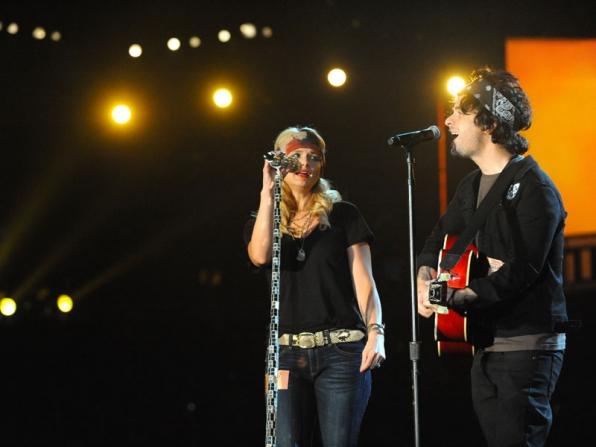 2014 GRAMMY Reherasals - Miranda Lambert and Billie Joe Armstrong