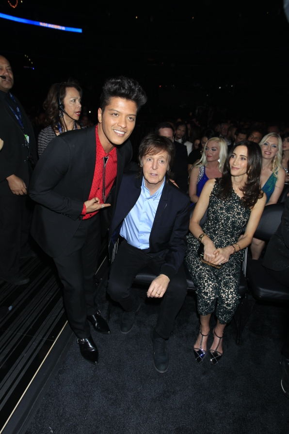 Bruno Mars and Paul McCartney Backstage - GRAMMYs 2014 - CBS.com