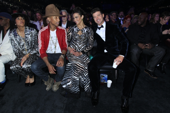 Pharrell, Paula Patton and Robin Thicke - GRAMMYs 2014 - CBS.com