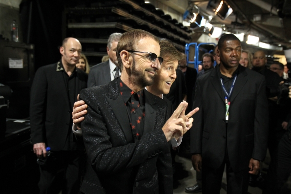 Paul McCartney and Ringo Starr Backstage - GRAMMYs 2014 - CBS.com