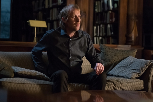 "Rhys Ifans returns as Mycroft Holmes in ""The Grand Experiment"" S2E24"