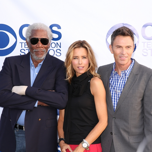 Morgan Freeman, Téa Leoni and Tim Daly on the CBS Summer Soiree Red Carpet