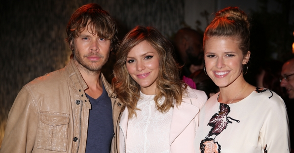 Eric Christian Olsen, Katharine McPhee and Sarah Wright at the CBS Summer Soiree
