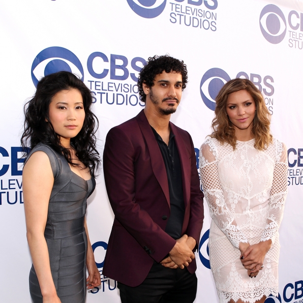 Jadyn Wong, Ari Stidham and Katharine McPhee on the CBS Summer Soiree Red Carpet