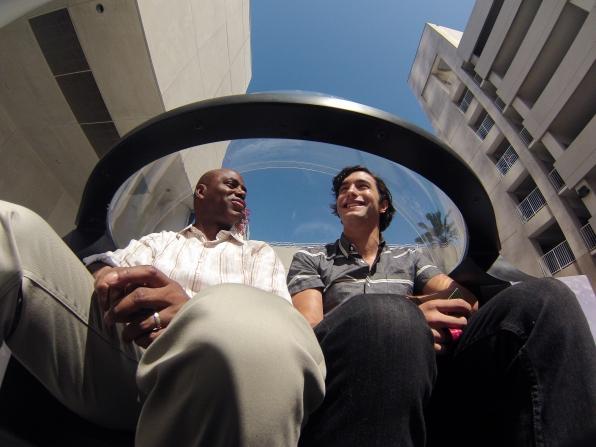 Alex Koch in the Pedicab