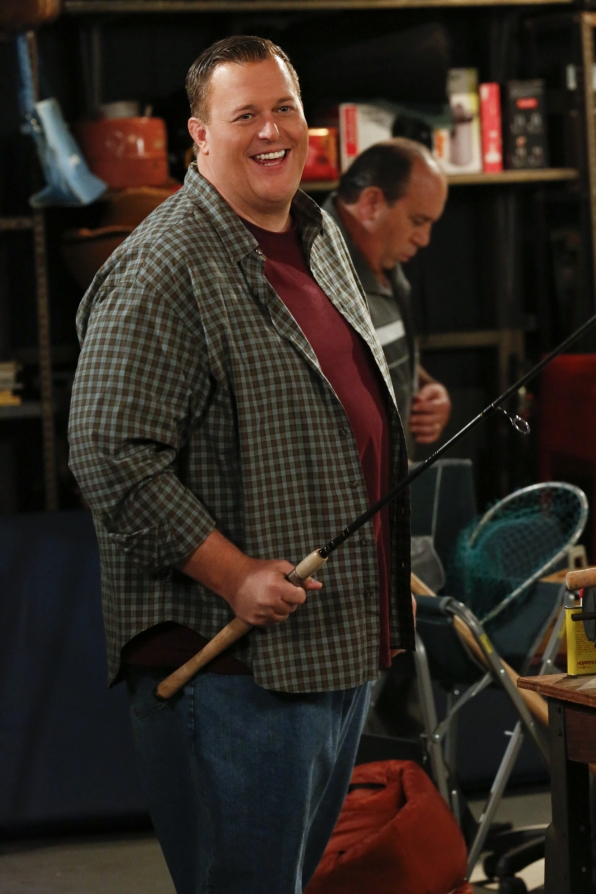 Smiling while shooting the episode