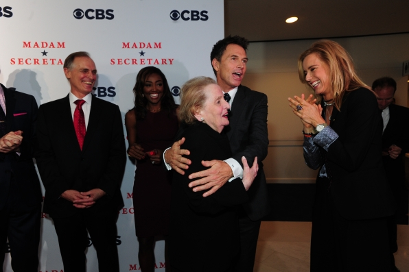 Tim Daly Hugs Madeleine Albright