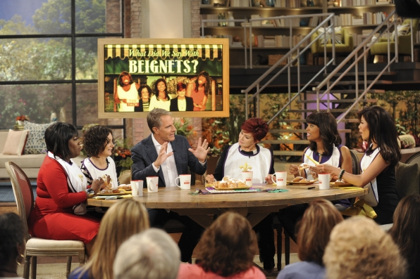 "6. The ladies playing ""What Did We Say With Beignets"" with Scott Bakula."