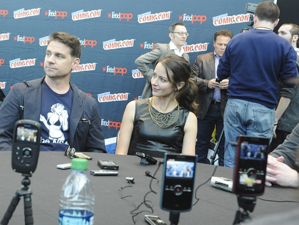 Executive Producer Greg Plageman with Amy Acker at New York Comic Con