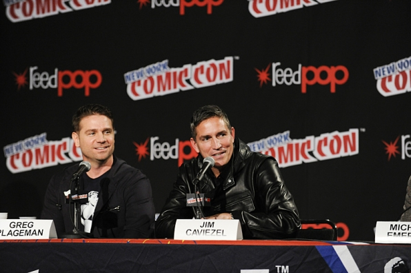Executive Producer Greg Plageman with actors Jim Caviezel at New York Comic Con