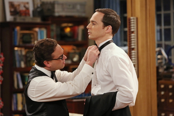 Helping Sheldon with his tie
