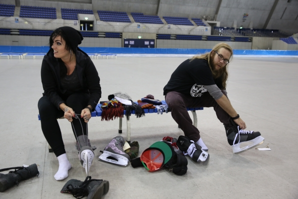 Lacing up their skates
