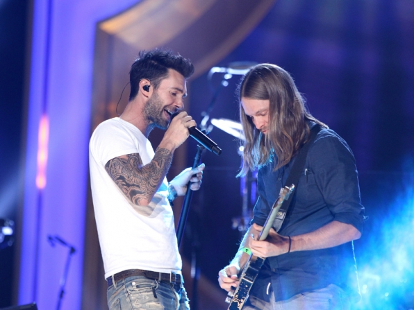 7. Adam Levine and James Valentine of Maroon 5.