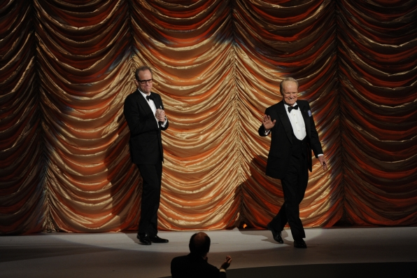 Michael Stevens and George Stevens, Jr. Wave to the Crowd